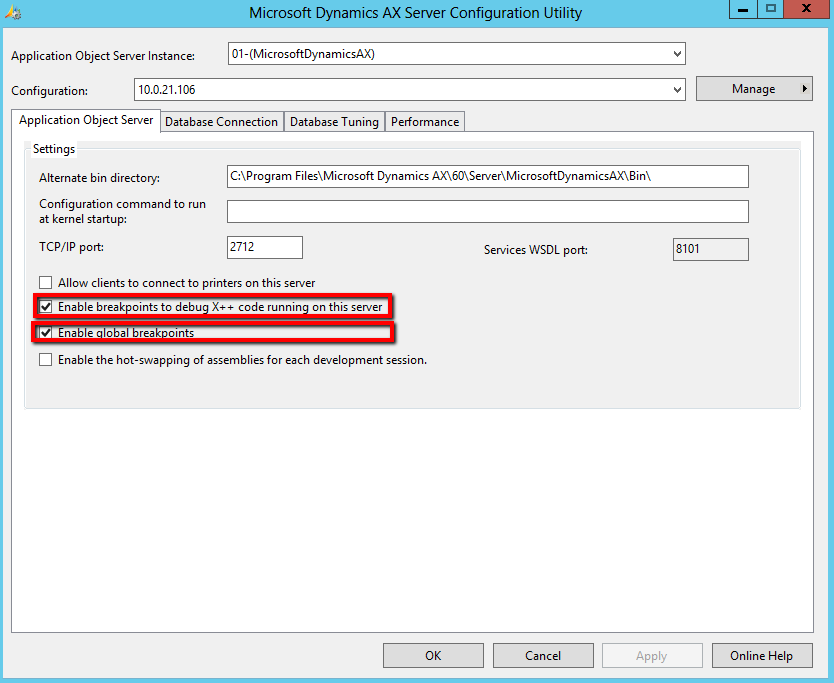 Enable server breakpoints